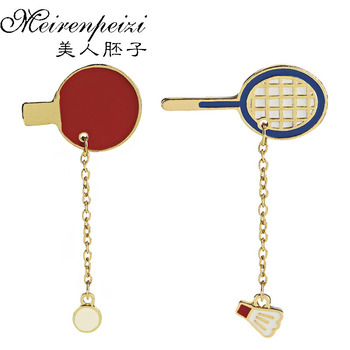 Table Tennis Badminton Racket Brooches Pingpong Charm Enamel Pins Brooch Sports Enthusiasts Badges Brooches Pin for Sport Lover image