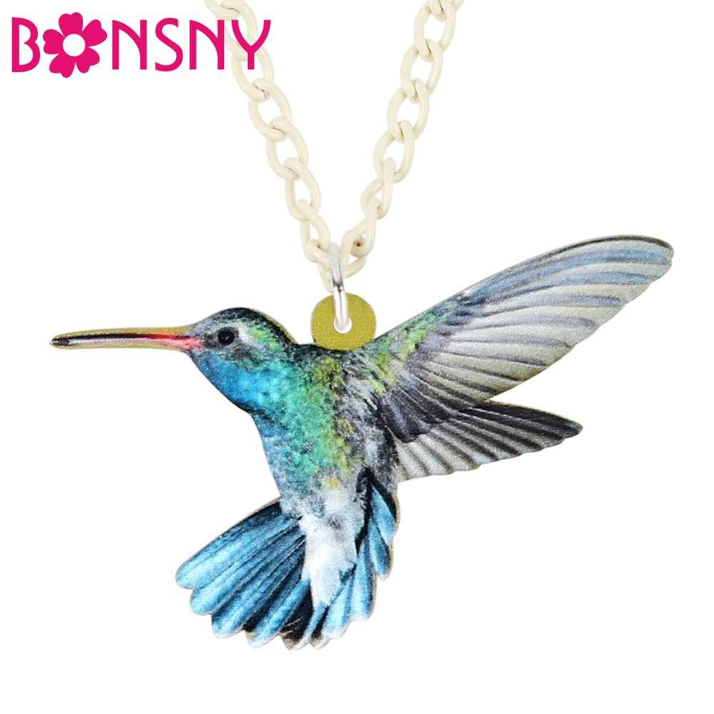 Bonsny Acrylic Fashion Hummingbird Bird Necklace Pendant Chain Collar Unique Animal Jewelry For Women Girls Gift Accessories New