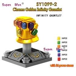 Única Marvel Avengers 3 Infinity War Thanos Infinity Gauntlet SY1099-2 con 24 Uds piedras preciosas bloques de construcción juguetes para niños