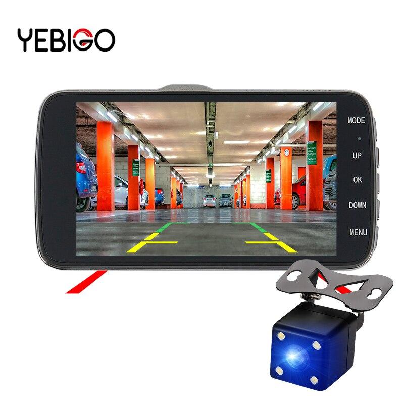 YEBIGO voiture DVR caméra double objectif 4.0 pouces HD 1080 P enregistreur vidéo enregistreur Vision nocturne Dashcam Carcam Dash Cam voiture cam