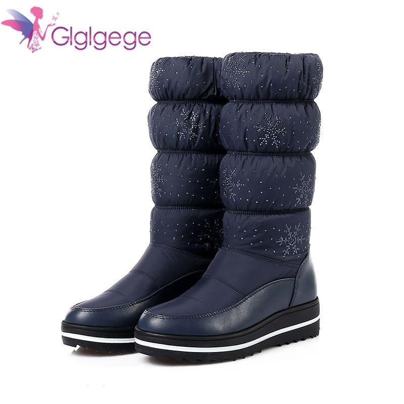 Damenstiefel Frauen Schuhe Glglgege 2018 Neue Winter Plüsch Schuhe Schneeflocke Muster Schnee Stiefel Mode Rohr Casual Student Knie-hohe Baumwolle Stiefel