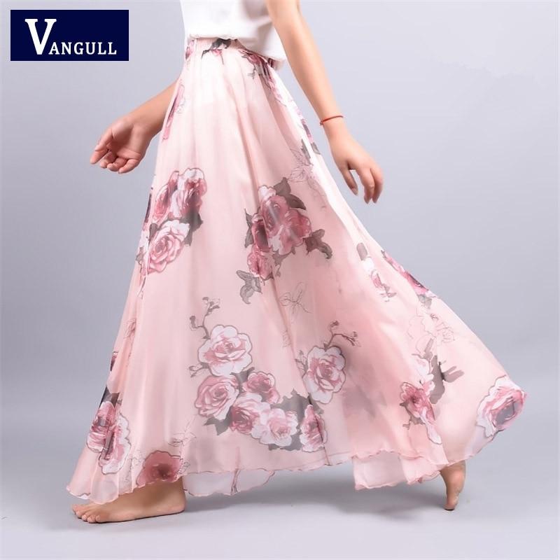 Женская винтажная шифоновая юбка в стиле бохо, Длинная пляжная Праздничная свободная Расклешенная юбка в пол с цветочным принтом, в богемно...
