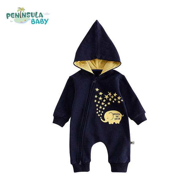 3abe37c6b Cotton Baby Hooded Long Sleeve Kids Clothes Jumpsuits Girls Boys ...