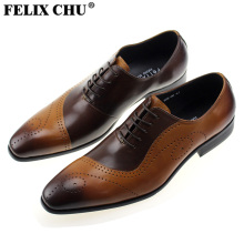 FELIX CHU Fashion New Mens Lace Up Genuine Leather Brown Brogue Formal Dress Tan Shoes Office Party Wedding Size 39-46 #185-06