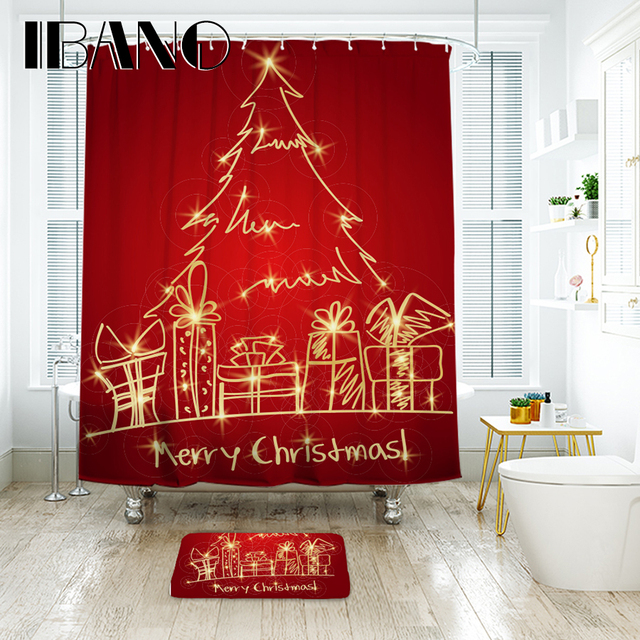 IBANO Christmas Tree Shower Curtain Waterproof Polyester Fabric Bathroom Floor Mat Decorations For Home
