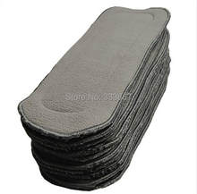 5/lot Charcoal Bamboo Inserts Microfiber Blended High Quality Washable Reusable For Baby Cloth Diapers Nappies 5 Layers(China)