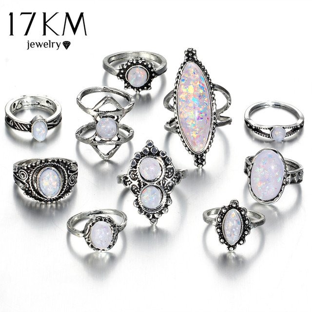 17KM Vintage Big Natural Opal Stone Knuckle Shield Rings Set For Women Bohemian