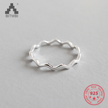 100% 925 Sterling Silver Simple Thin Line Curve Wave Wild Smooth Ring(China)