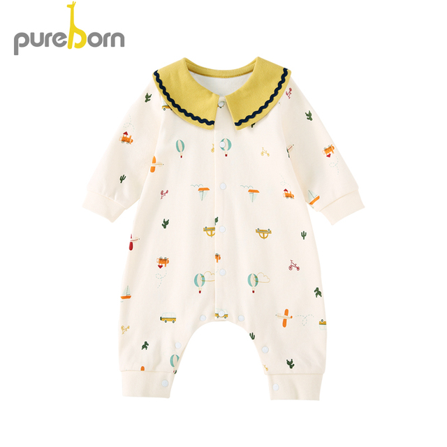Pureborn Newborn Clothing Baby Boy Girl Clothes Cotton Cartoon Peter Pan Collar Infant Jumpsuits Spring Autumn Rompers