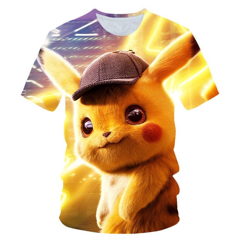 Filme Detective 3D Pokemon Pikachu T-shirt Para Homens Mulheres Camisetas Da Moda de Verão Casuais T-shirt Dos Desenhos Animados do Anime Roupas Traje Bonito