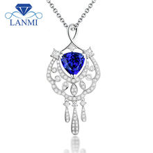Noble Trillion Cut 8x8mm Natural Diamond Tanzanite Pendants For Necklaces In 18Kt White Gold  Gemstone Jewelry for Women