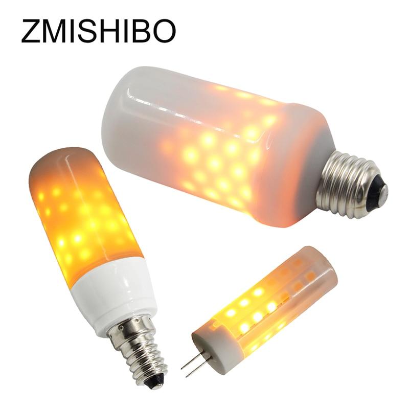ZMISHIBO E27 E14 G4 LED Bulbs Fire Burning Home Decoration Lamps Warm White 2W 3W 5W 100-240V Night Lights Winter Christmas Lamp xeltek private seat tqfp64 ta050 b006 burning test