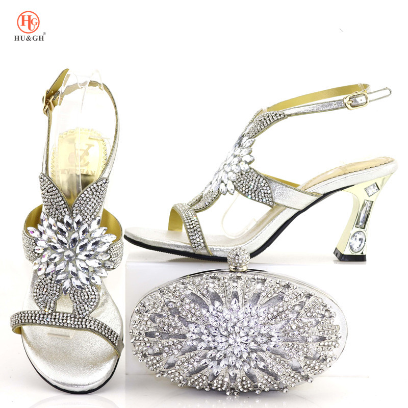 Newest Fashion Party Shoes And Bags To Match Silver African Shoes and Bag Set Italian Wedding Summer Sandals Shoes And Bag Set