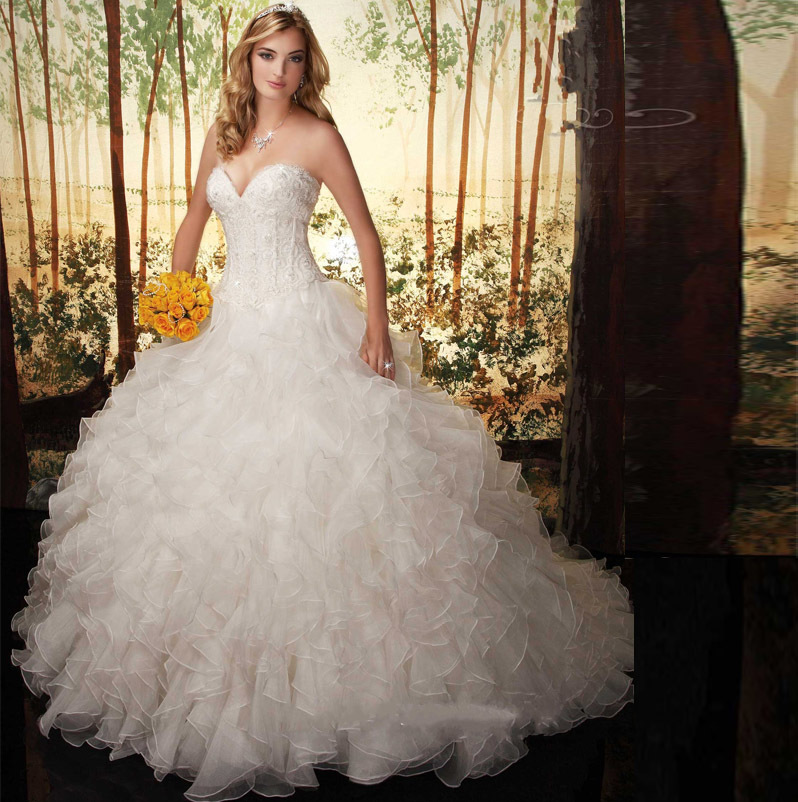 Wedding Gowns With Ruffles: Vintage Ball Gown Ruffles Wedding Dresses 2015 Hot Sale