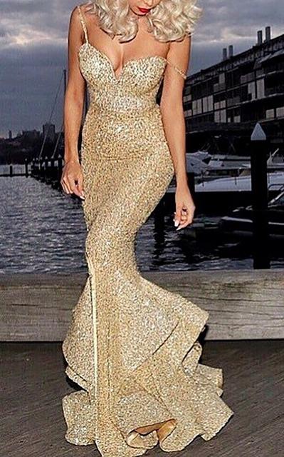 2016 New Arrival Sexy Ouro Lantejoulas Lace Sereia Vestidos de Baile de Alta Qualidade Pescoço Namorada Spaghetti Strap vestido de Noite Vestido de Festa
