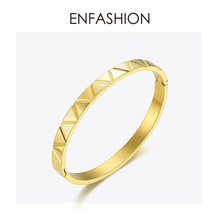 ENFASHION Stainless Steel Cuff Bracelets Bangles For Women Gold Color Simple Punk Viking Bracelet Fashion Jewelry 2019 BD192009(China)