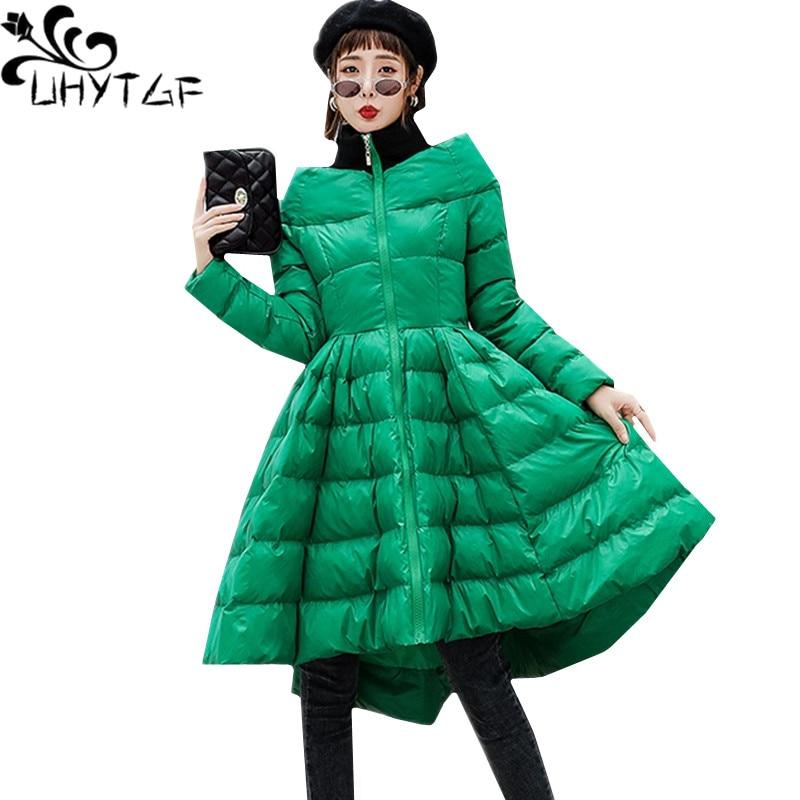 UHYTGF New Winter Skirt Style Down Jacket Coat Women s One word collar Slim Fluffy Down