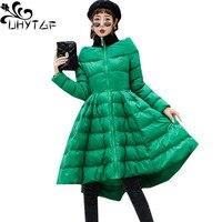 UHYTGF New Winter Skirt Style Down Jacket Coat Women's One word collar Slim Fluffy Down Cotton luxury long cloak Warm Jacket 983