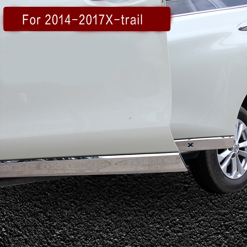 FIT FOR Nissan xtrail x-tail x trail 2014 15 16 17 CHROME SIDE DOOR BODY MOLDING TRIM COVER LINE GARNISH PROTECTOR ACCESSORIES new russia fur hat winter boy girl real rex rabbit fur hat children warm kids fur hat women ear bunny fur hat cap