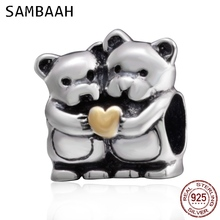 Sambaah Bear Hug Heart Charm 925 Antique Sterling Silver a Couple Bears Beads fit Pandora Valentines Day Bracelet SS2915