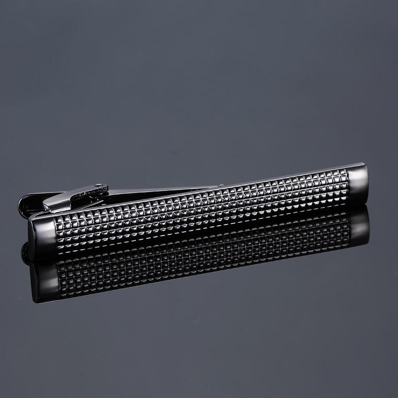 C-MAN Brand Mens Black Hand Engraving Tie Clip Pins Short Men Necktie Tie Bar Mens Chrome Clamp Stainless Steel Plain Tie Clip