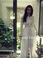 Abendkleid 2017 Oriente medio Dubai Kaftan Abaya Gasa Blanca de Manga Larga Vestido de Noche con Cuentas/Lentejuelas Vestidos de Fiesta Árabe