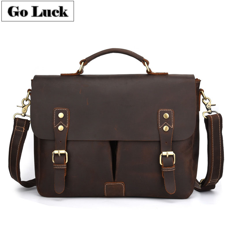 New Crazy Horse Genuine Leather 14 Briefcase Portfolio Mens Handbag Men Crossbody Shoulder Bags Male Messenger BagNew Crazy Horse Genuine Leather 14 Briefcase Portfolio Mens Handbag Men Crossbody Shoulder Bags Male Messenger Bag