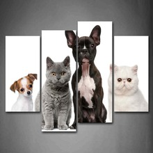 4 Panels Unframed Wall Art Pictures Cute Dogs Cats Canvas Print Modern Animal Posters No Frames For Living Room Decor