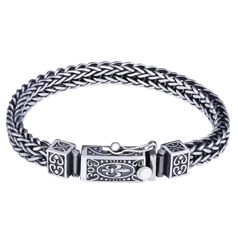 Solid Silver 925 Woven Chain Bracelet Men Women 100% Genuine Sterling Silver 925 Vintage Vine Bracelet Cool 925 Jewelry Gifts