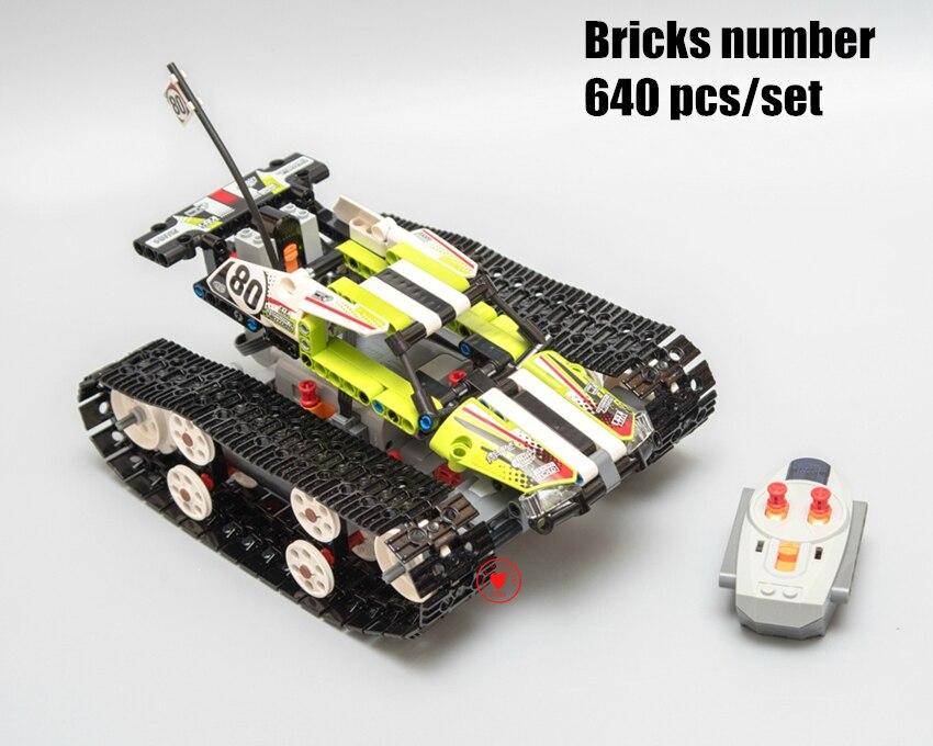 Техника RC отслежены RACER автомобилей электродвигателя Мощность Функция fit legoings Technic 42065 city Building Block Кирпичи Модель подарок для детей