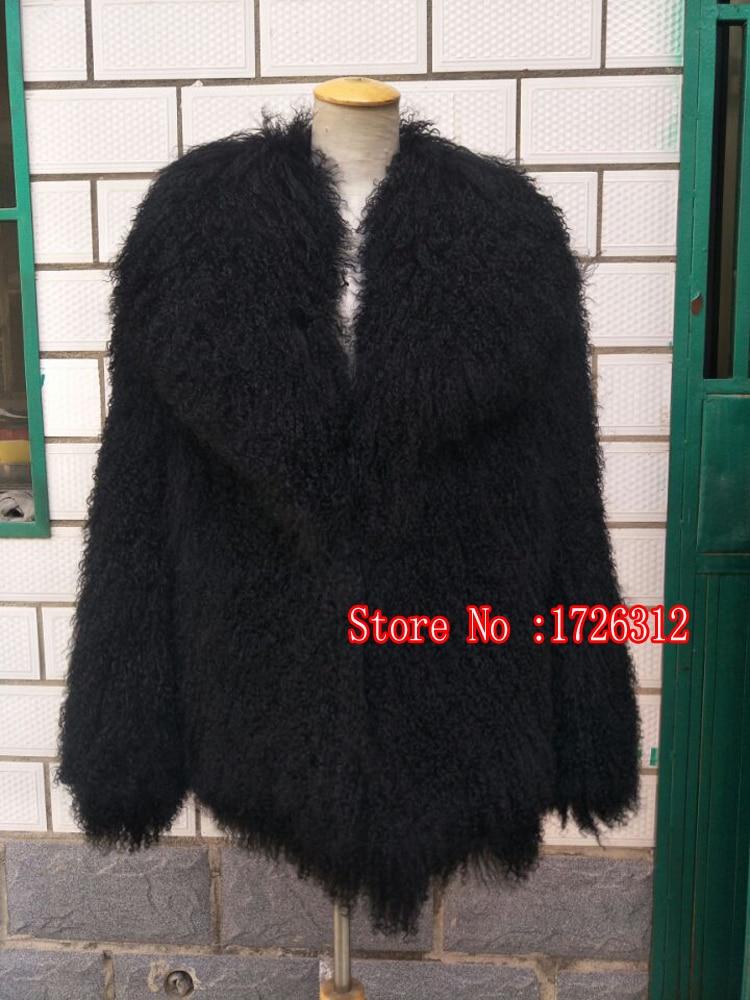 Ženy plážová vlna ovčí kožešinová bunda klopa krátký kabát módní teplá bunda mongolská ovčí kožešina kabát ženské svrchní oblečení siut límec