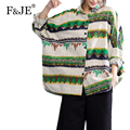 F&JE 2017 Spring Fashion Women Brand Clothing High quality Cotton Vintage Print Shirt Loose Casual long sleeve Blouse Tops J398