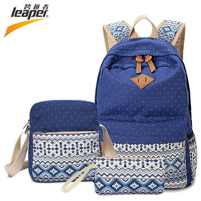 0e5b2330790 Leaper Brand Quality Floral Backpack Canvas Bags For Teenagers Girls Laptop  Bag Soft Handle Printing Backpack