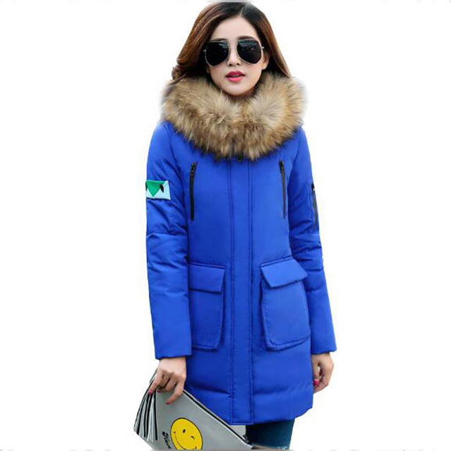 2016 new arrival winter jacket thicken super warm coat plus size faux fur collar women down coat medium long hooded coat kp0851
