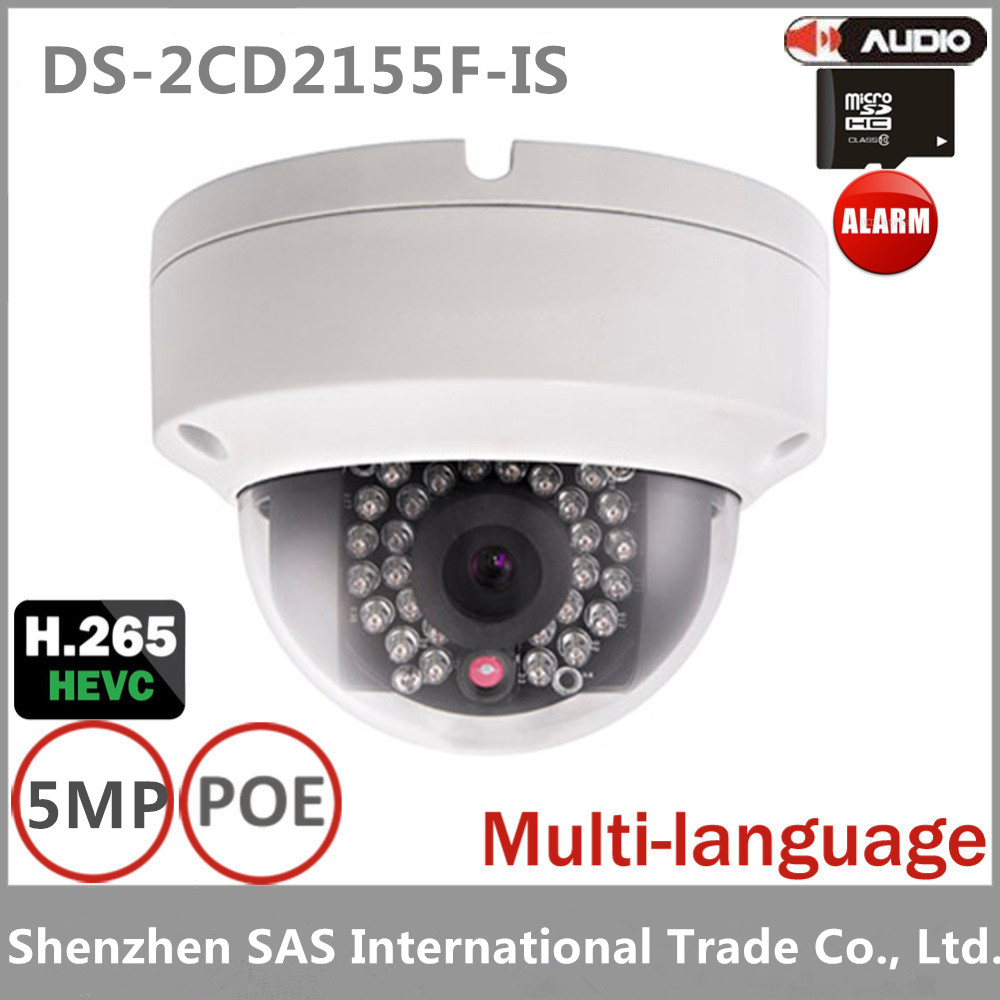 Hikvision 5MP Dome Network IP Camera DS-2CD2155F-IS WDR Support H.265 IP67 IK10 PoE 30m IR Audio Vandal Proof  4pcs/lot hikvision new released 8mp h 265 network dome camera ds 2cd2185fwd i 3d dnr bullet camera 3840 2160 resolution ik 10 ip 67