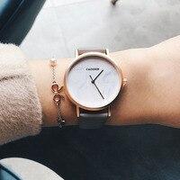 CADISEN Top Brand Fashion Ladies Watches Leather Female Quartz Watch Women Thin Casual Strap Watch Reloj Mujer Marble Dial Women Quartz Watches