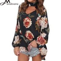 AVODOVAMA M Women Floral Print Chiffon Halter Cool Plus Size Blouses Sexy Loose Lantern Sleeve Fashion