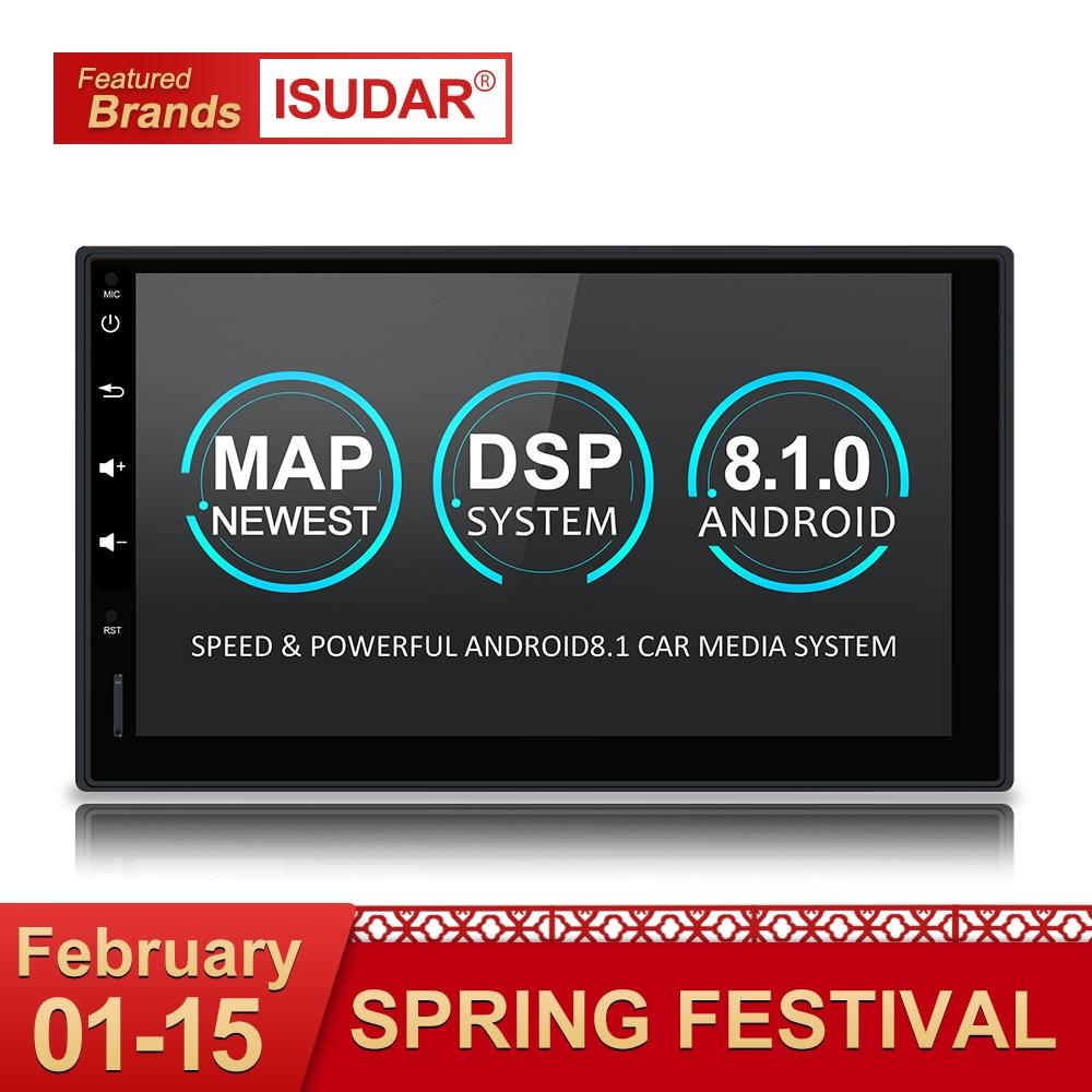 Isudar Универсальная автомагнитола 2 Din на Андройд 8,1 с Bluetooth Wifi Радио/ FM /GPS /USB /DVR/ OBD2 автомобильный плеер радиоприемник с Поддержкой Камеры Задне...