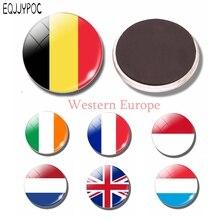 Western Europe Flag Glass 30MM Fridge Magnet Belgium Netherlands France Monaco Ireland Refrigerator Magnetic Sticker Decoration