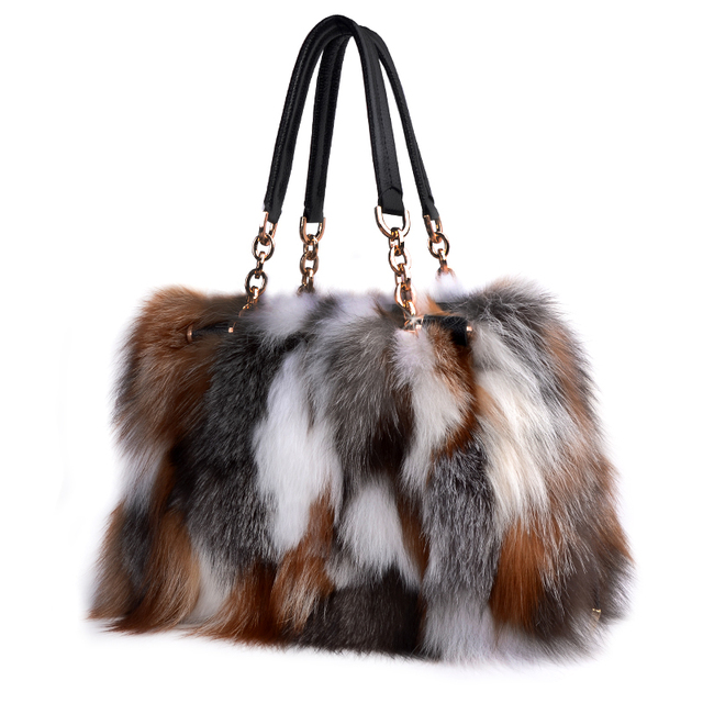 f48329b523bf 2017 New Brand Fox Fur Handbags Fashion Women Winter Luxury Bag Genuine  Leather Shoulder Bags Bolsa