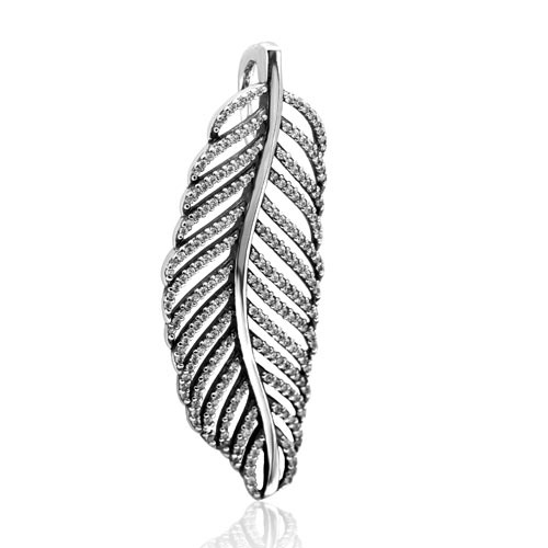 White Zircon Pave Feather Pendant 925 Sterling Silver European Dangle Charms Jewelry Accessories Beads SDC923