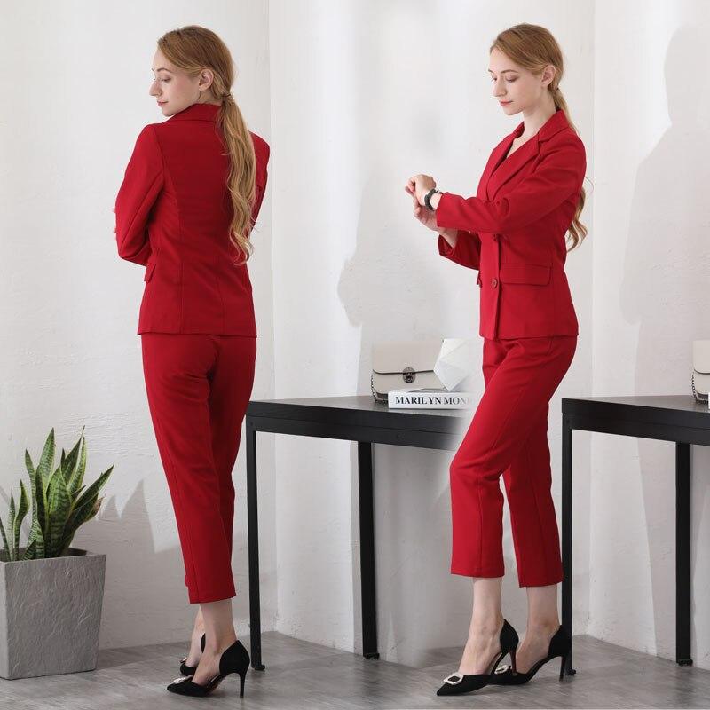 pu Travail Dames Avec Tenues Noir Pièce Pour D'affaires Femelle 2 Professionnel Blazers rouge Ensembles Vestes Costumes Pantalon Ciel Nouveau Bureau qCcwEpS1TR
