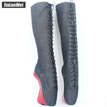 jialuowei Women Boots 7 High Heel Pointed Toe Cross-Tied Zipper Denim Knee-High Sexy Fashion Nightclub Party Cosplay
