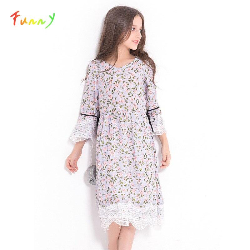 Cute Girl Kids Dress Flare Sleeve Rural Floral Print Chiffon Dress Elegant Girls Lace Dress Summer Autumn 2019 Children Outfit|Dresses|   - AliExpress