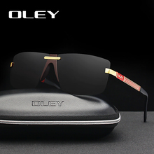 OLEY Fashion Mens Frameless Polarized Sunglasses Classic Pilot Goggles  UV400 Gafas De Sol Y4909 Support custom LOGO
