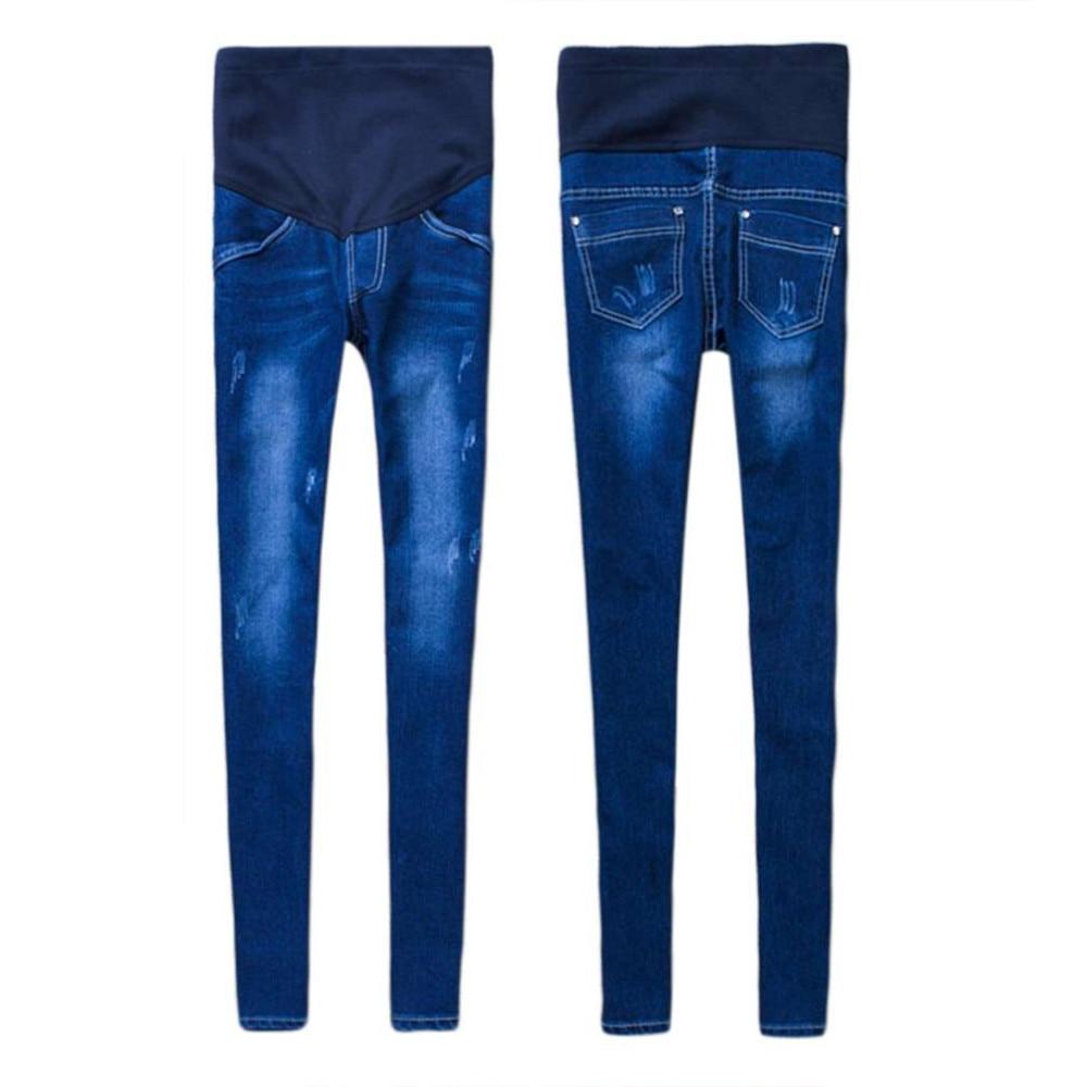 100% Brand New Fashion i Stylowe Kobiety W Ciąży Elastyczna Elastyczna Bawełna Jeans Denim Ołówek Spodnie Ciążowe Spodnie 1