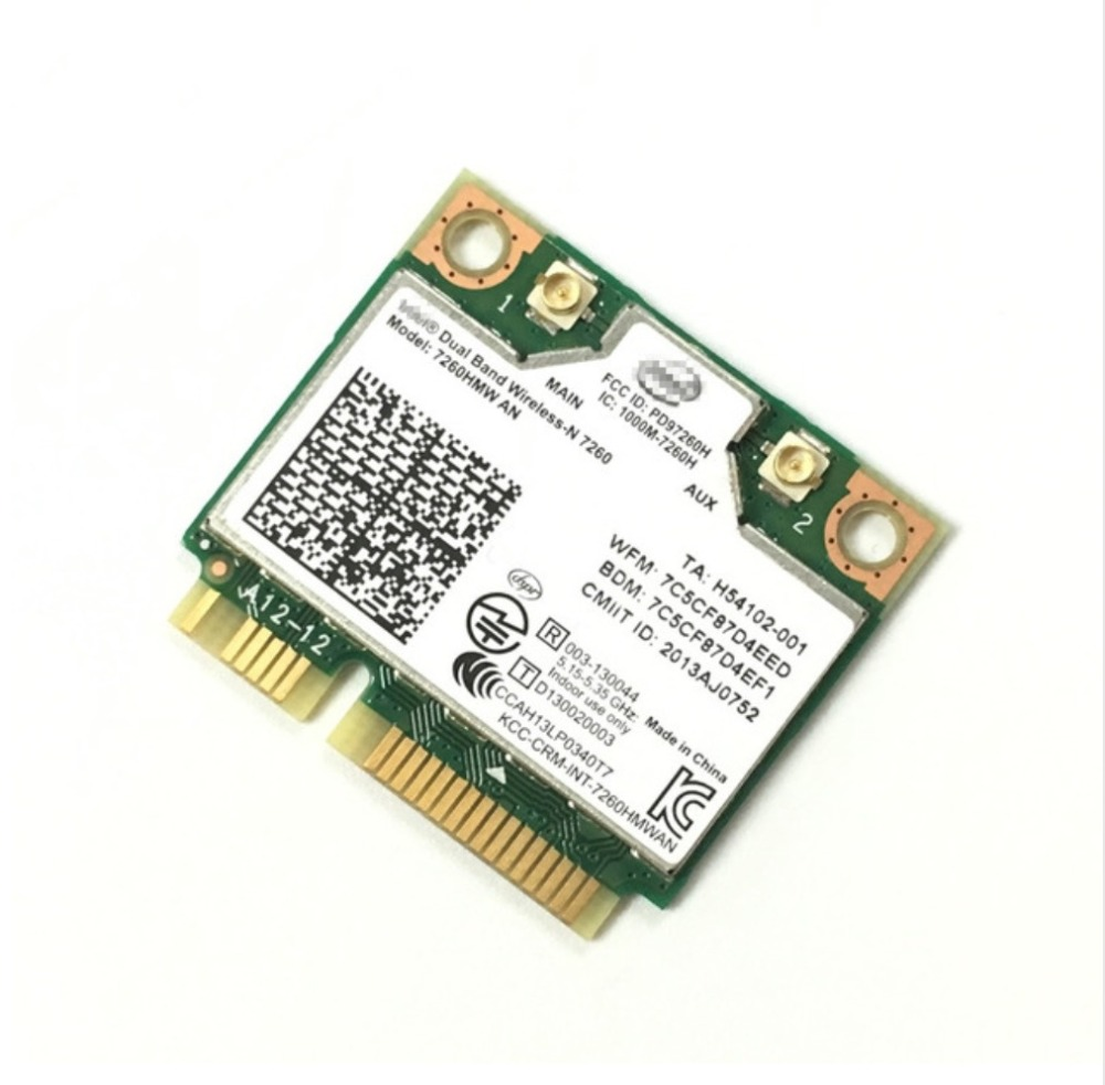 intel Dual Band Wireless-N 7260 7260HMW 7260AN 300Mbps+Bluetooth4.0 half Mini PCI-e Wireless WIFI CARD Linux/Win7/Win8/Win10/APintel Dual Band Wireless-N 7260 7260HMW 7260AN 300Mbps+Bluetooth4.0 half Mini PCI-e Wireless WIFI CARD Linux/Win7/Win8/Win10/AP