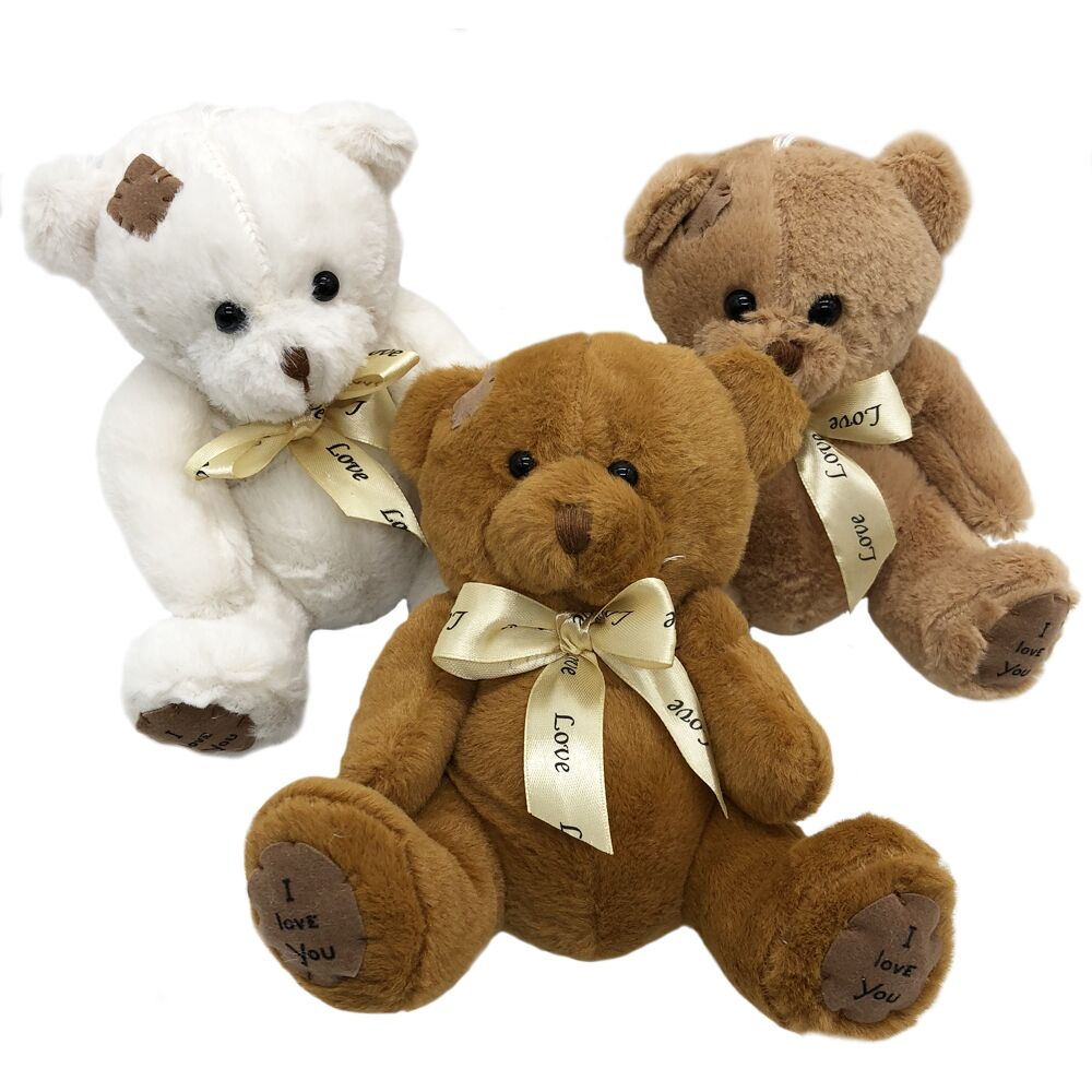 где купить 1pc 18cm Cute Patch Bear Plush Toys Stuffed Teddy Bear Soft Toy Bear Wedding Gifts Baby Toy Birthday Gift Christmas Brinquedos по лучшей цене