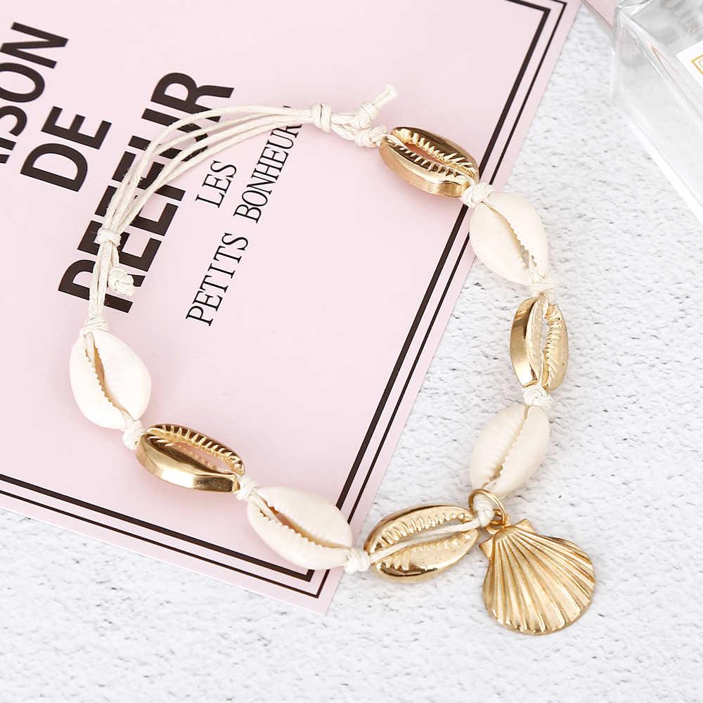 Xiyanike Alam Baru Shell Keong Tali Gelang untuk Wanita Perhiasan Kaki Musim Panas Pantai Bertelanjang Kaki Gelang Pergelangan Kaki Di Kaki untuk Wanita 2019