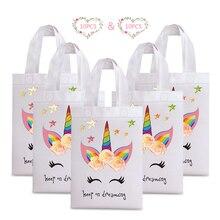 20 piezas gran oferta, bolsa laminada para compras de unicornio, bolsa de regalo impermeable no tejida, bolsa de mano para regalo de fiesta de cumpleaños para niños, bolsas de fiesta de unicornio
